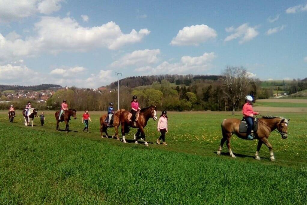TSG Wilhelmsdorf Reiten Reiterferien April Ausritt