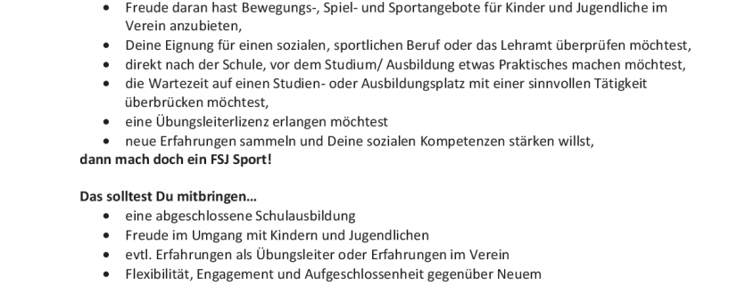 Stellenausschreibung FSJ Sport 2018-2019